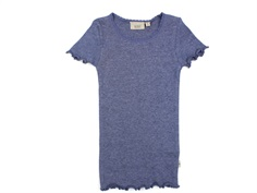 Wheat t-shirt rib blue melange with lace