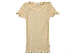 Wheat t-shirt rib sand melange with lace