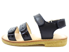 Angulus sandal black with hearts and varnish