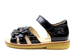 Angulus sandal black lacquer with flower
