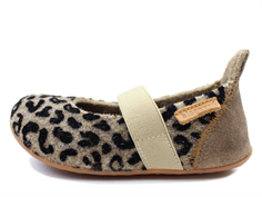 Bisgaard slippers brown/leopard with elastic