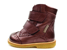 Angulus winter boot burgundy shine TEX with lace pattern