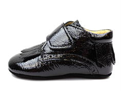 Angulus slippers black patent leather with fringes