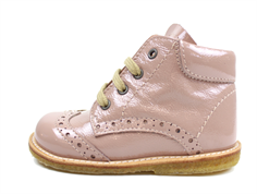 Angulus toddler shoe rose patent leather with laces
