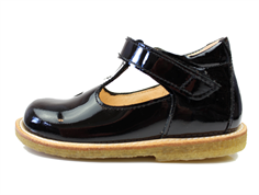 Angulus toddler shoe with heart black patent leather