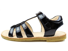 Angulus sandal black lacquer with velcro