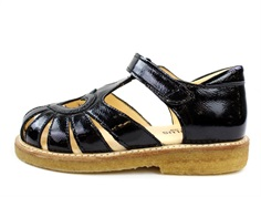 Angulus sandal black lacquer with heart (narrow)