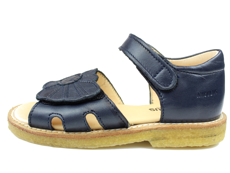 Angulus sandal navy with flower (narrow)