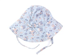 Wheat sun hat pearl blue flowers