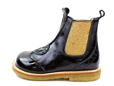Angulus ancle boot black/gold lacquer with heart