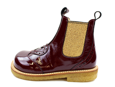 Angulus ancle boot dark red/gold lacquer with heart