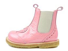 Angulus ancle boot bright rose patent leather with heart