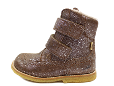 Bisgaard winter boot brown glitter with velcro and TEX