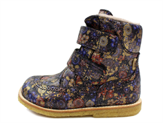 Bisgaard winter boot navy blue flower with velcro and TEX
