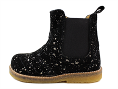 Pom Pom ancle boot black twinkle with elastic