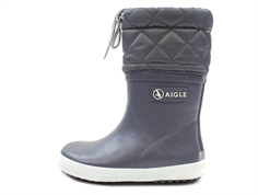 Aigle Giboulee winter rubber boot charcoal gris with lining