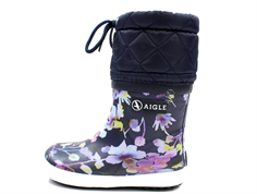 Aigle Giboulee dark flower winter rubber boot