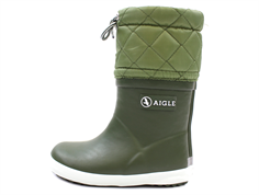 Aigle Giboulee winter rubber boot khaki with lining