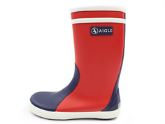 Aigle Lolly Pop rubber boot rouge indigo blanc