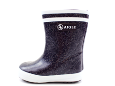 Aigle Baby Flac Fur winter rubber boot dark purple glitter