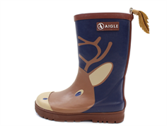 Aigle Woodypop winter rubber boot fun moose with lining