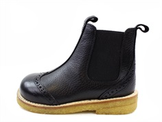 Angulus winter ancle boot black with wool lining and lace pattern