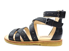 Angulus sandal black with studs and zippers