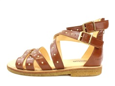 Angulus sandal cognac with rivets and zipper