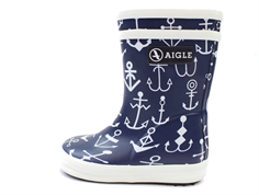 Aigle Baby Flac rubber boot dark navy with anchor