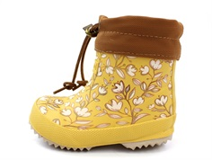 Bisgaard winter rubber boot map mustard flower with woollining