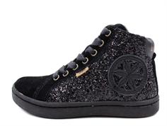 d4076b0610d8 Bisgaard winter sneaker black glitter with zip and TEX