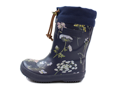 Bisgaard winter rubber boot flowers blue with wool lining