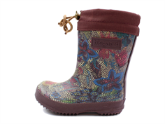 Bisgaard winter rubber boot flowers-bordaux