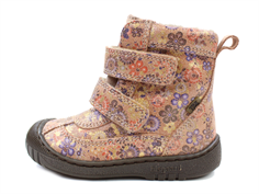 Bisgaard winter boot beige flowers with velcro and TEX