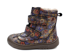 Bisgaard winter boot navy blue flowers with velcro and TEX