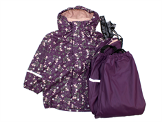 CeLaVi rainwear pants and jacket with lining blackberry wine