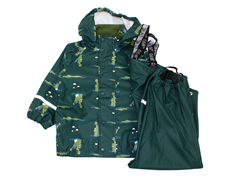CeLaVi rainwear pants and jacket ponderose pine crocodiles