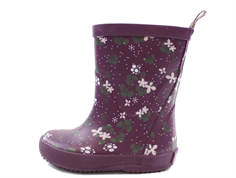 CeLaVi rubber boots blackberry wine with flowers