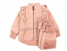 En Fant thermal pants and jacket ash rose glitter with frill