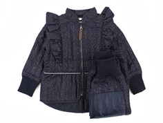 En Fant thermal pants and jacket classic navy glitter with frill