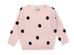 FUB knit blouse dot rose/navy wool