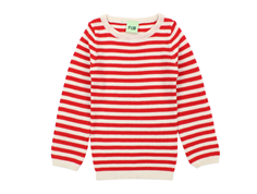 FUB knit sweater stripes ecru/red
