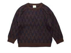 FUB sweater zigzag brown/navy wool
