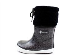 Aigle Giboulee winter rubber boot noir glitter