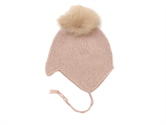 Huttelihut cap for babies dusty rose with fur tassel