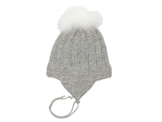 Huttelihut cap for babies ligth gray with fur tassel