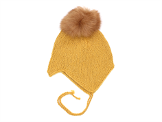Huttelihut cap for babies with fur tassel curry wool