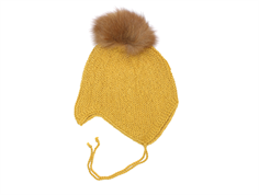 Huttelihut cap for babies mustard with fur tassel