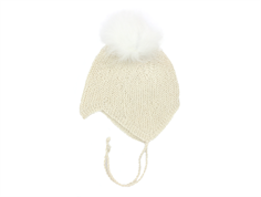Huttelihut cap for babies off-white with fur tassel