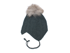 Huttelihut cap for babies petrol with fur tassel